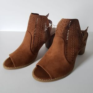 Brown Open Toed Booties with 3 Inch Chunky Heel